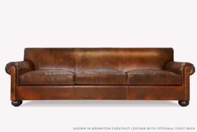 Franklin Tight Back Roll Arm Sofa In Brompton Chestnut Leather
