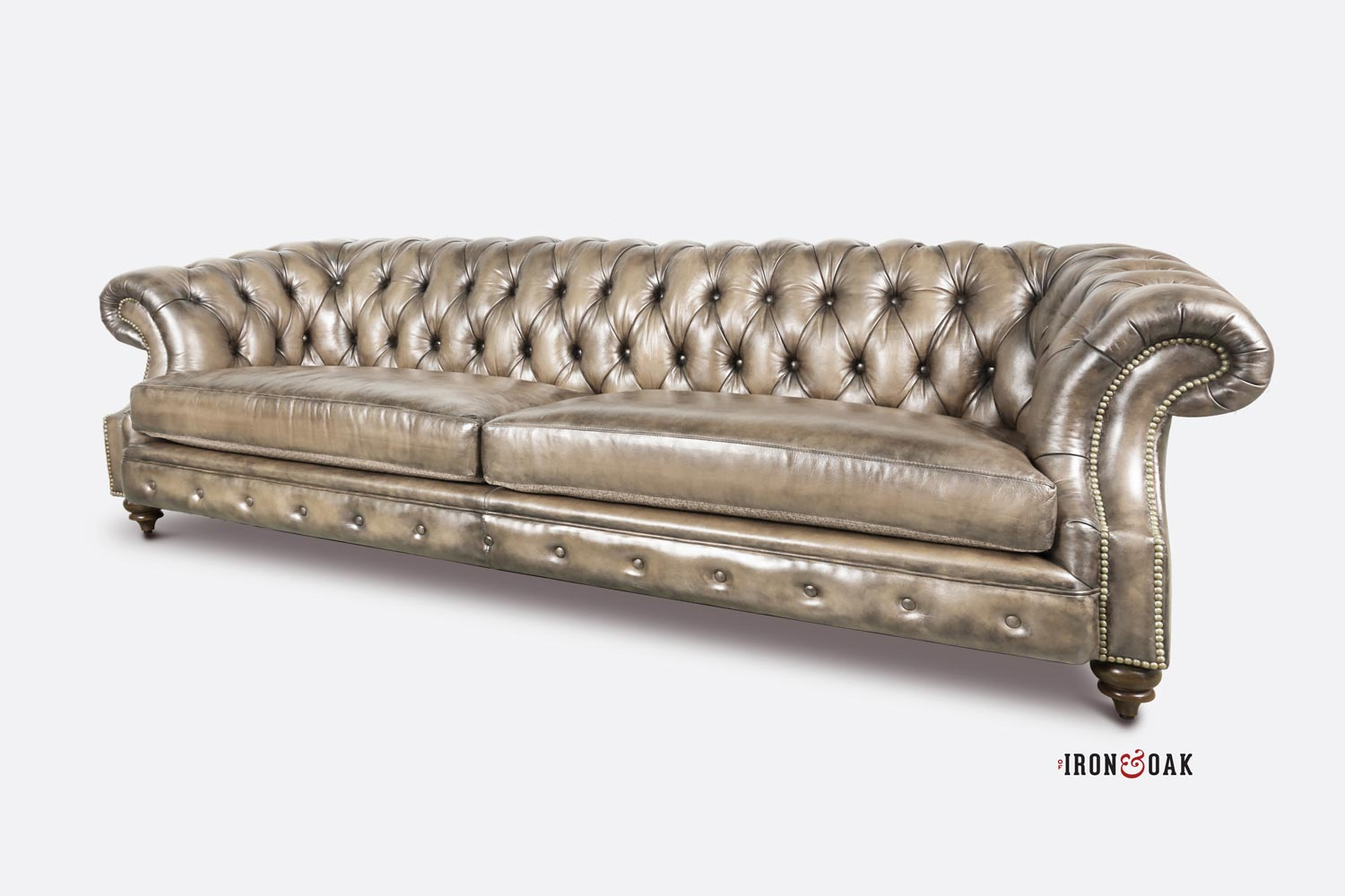 Langston High Back Scoop Arm Chesterfield Hand-stained In Sand Leather
