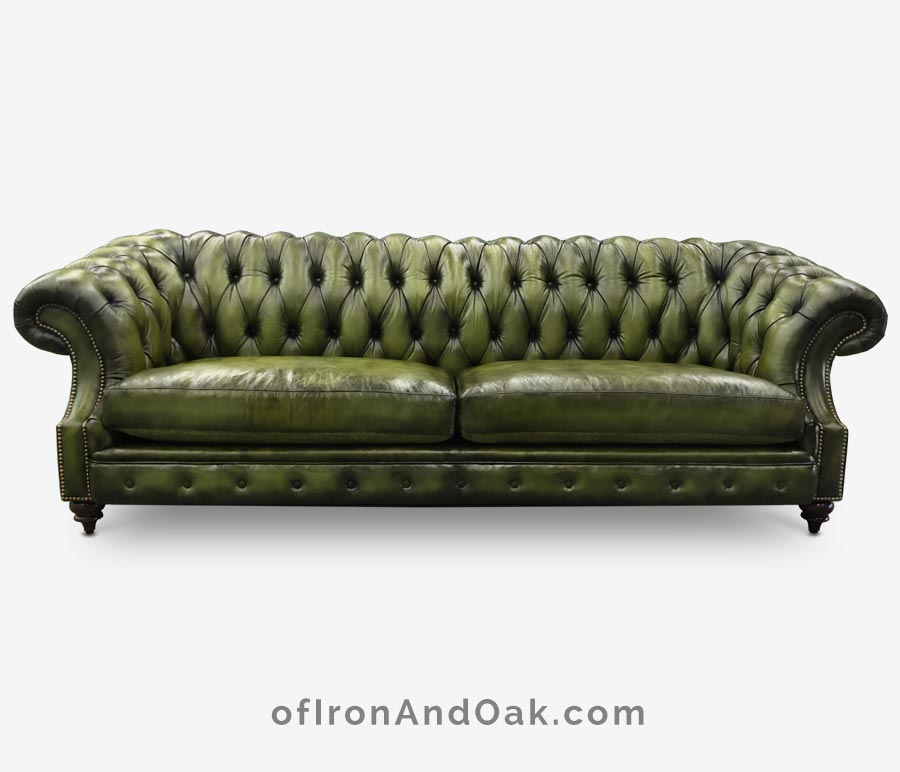 Langston High Back Scoop Arm Chesterfield Hand-stained In Forest Green Leather