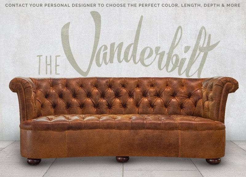 Caramel Leather Vanderbilt Curved Chesterfield