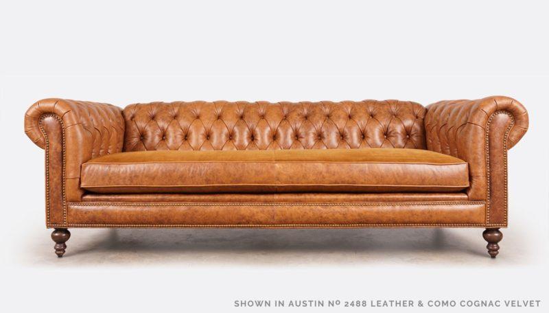 Fitzgerald Austin 2488 Brown Leather Como Cognac Velvet Chesterfield Sofa