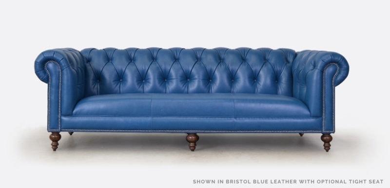Fitzgerald Bristol Blue Leather Tight Seat Chesterfield Sofa