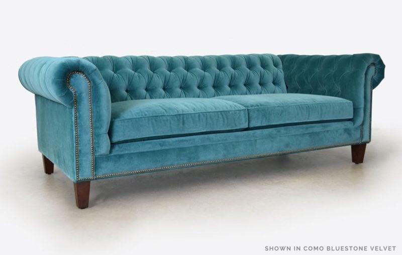 Fitzgerald Como Bluestone Velvet Chesterfield Sofa