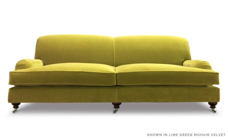 Kubrick Lime Green Mohair Velvet Tight Back English Arm Sofa