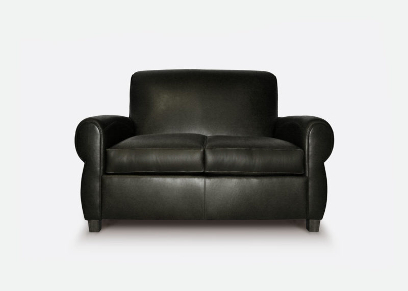 The Armstrong: Parisian Club Loveseat In Black Leather