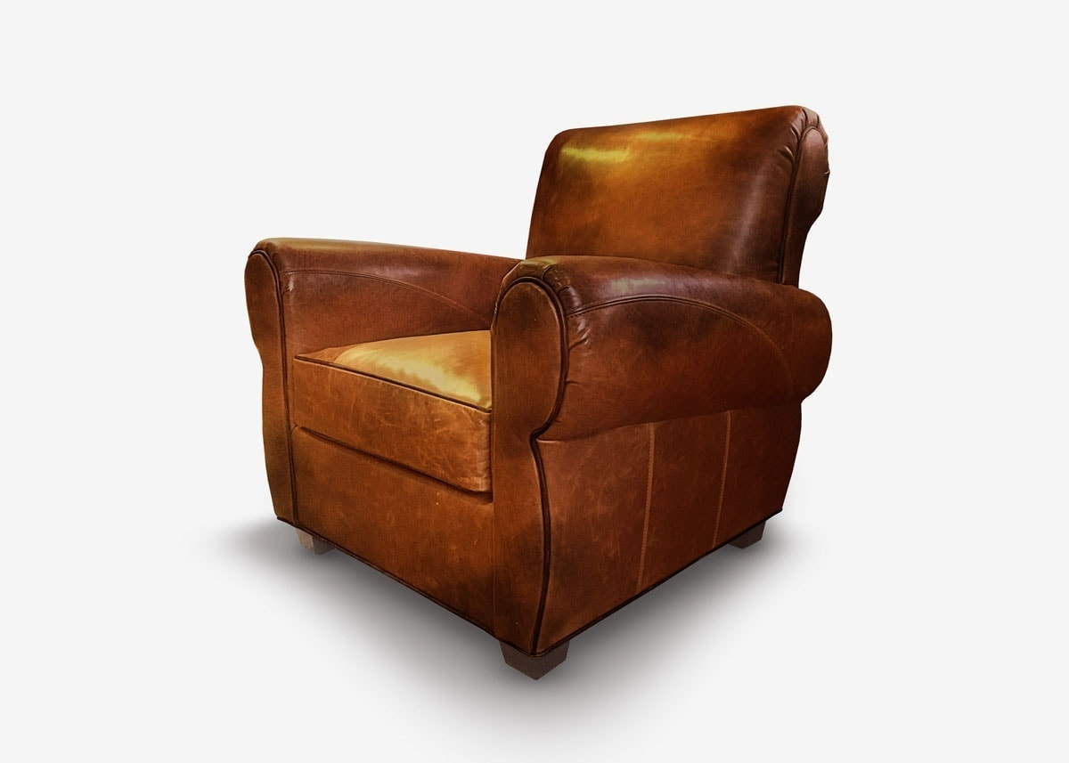 The Armstrong: Parisian Club Chair In Hand-Stained Brown Leather