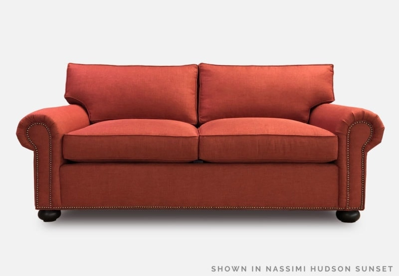 Roosevelt Coral Fabric Roll Arm Lawson Sofa