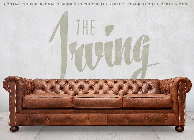 The Irving: Low Profile Brown Chesterfield Sofa