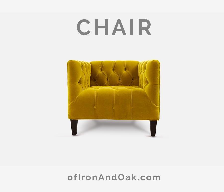 The Harris Tufted Seat Mid-Century Gold Velvet Armchair