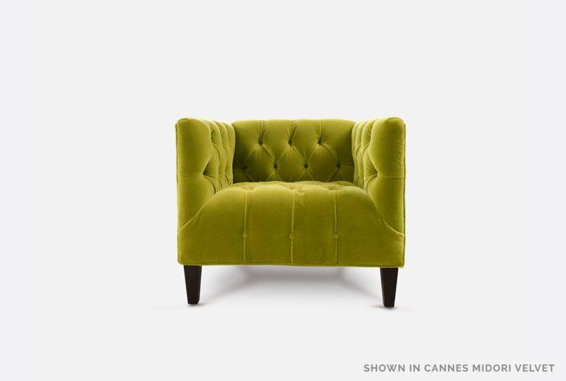 Harris Diamond Tufted Midcentury Chair In Cannes Midori Velvet