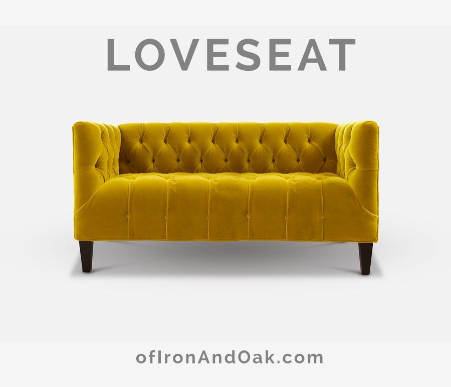The Harris Tufted Seat Mid-Century Gold Velvet Loveseat