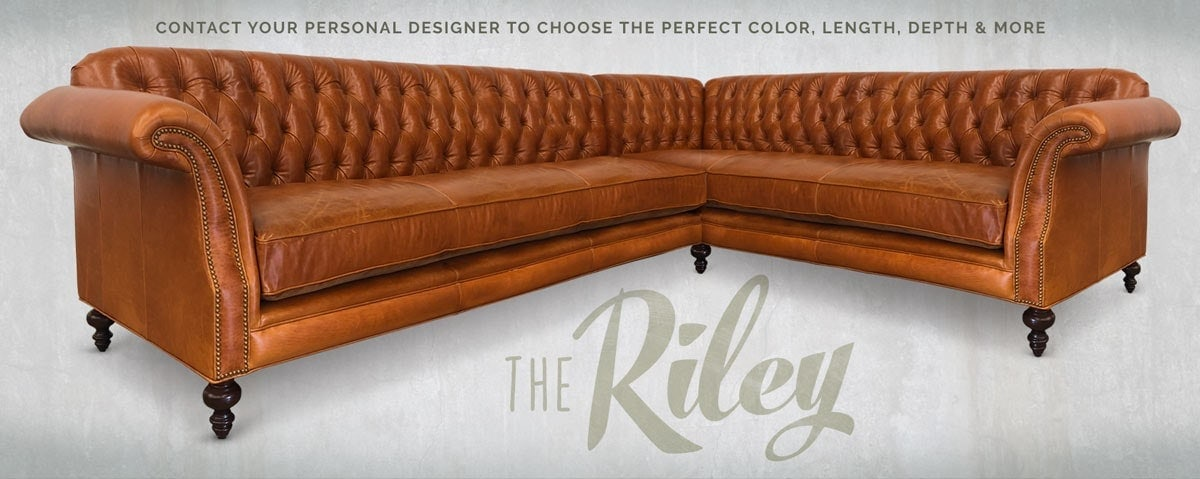 The Riley Caramel Brown Leather Splayed Arm High Back Tufted Chesterfield Sofa