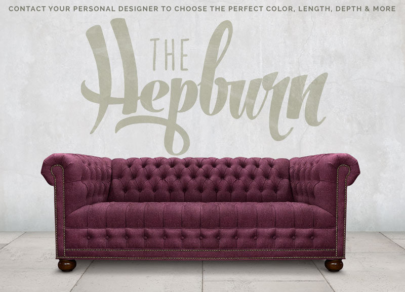 The Hepburn Aubergine Wool Tufted Seat Chesterfield Sofa