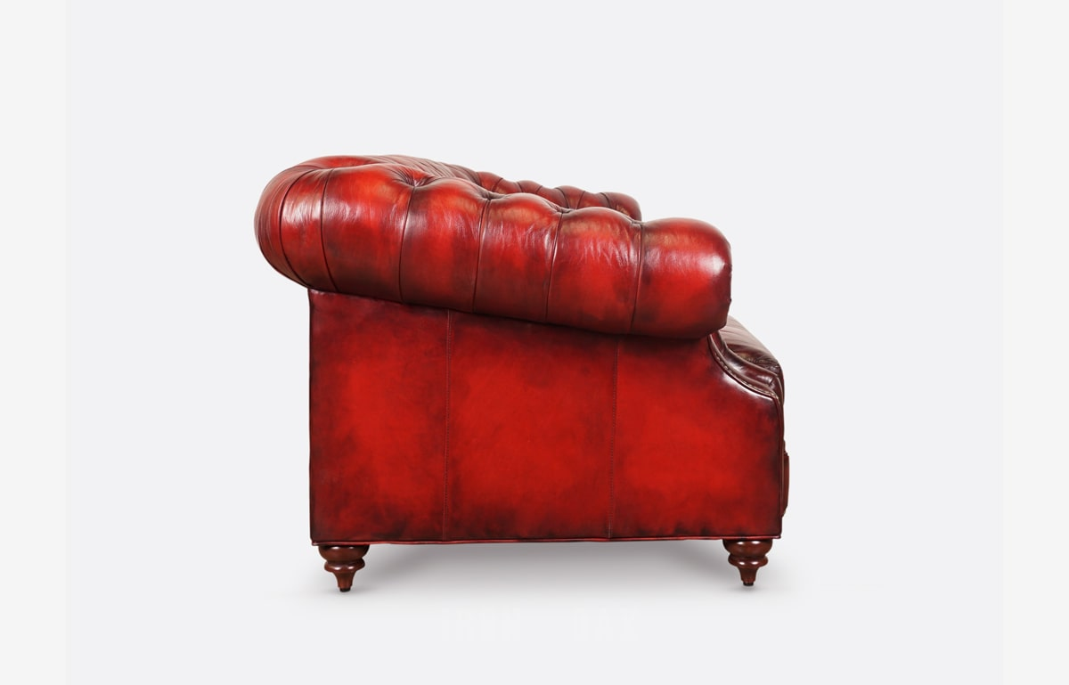 Langston Hand-Stained Chesterfield Sofa In Rubino Red Leather
