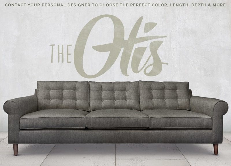 Otis Mid-Century Low Profile Roll Arm Sofa in Charcoal Gray Fabric