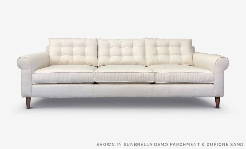 Otis Mid-Century Low Profile Roll Arm Sofa In Sunbrella Demo Parchment & Dupione Sand Fabrics