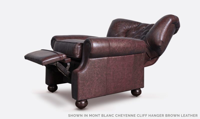 Big Benjamin Cliff Hanger Brown Leather Wingback Chesterfield Recliner