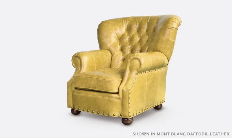 Big Benjamin Mont Blanc Daffodil Yellow Leather Wingback Chesterfield Armchair