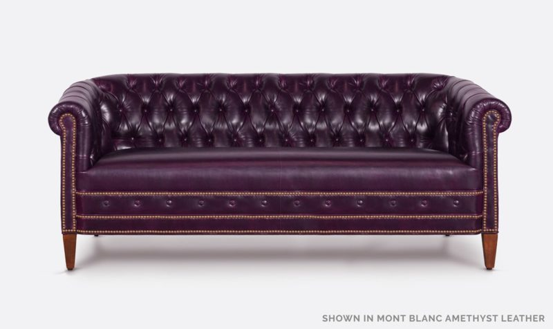 Jameson Tufted Mont Blanc Amethyst Purple Leather Barrel Chair