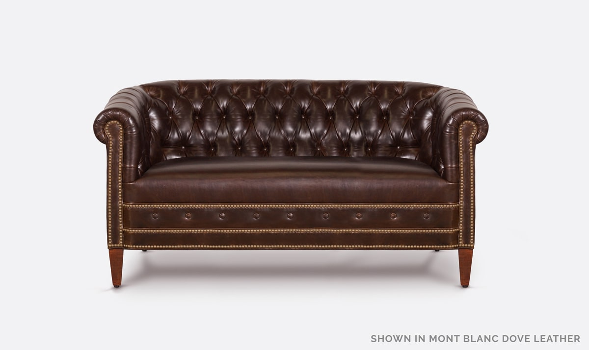 Jameson Tufted Mont Blanc Dove Brown Leather Barrel Chair