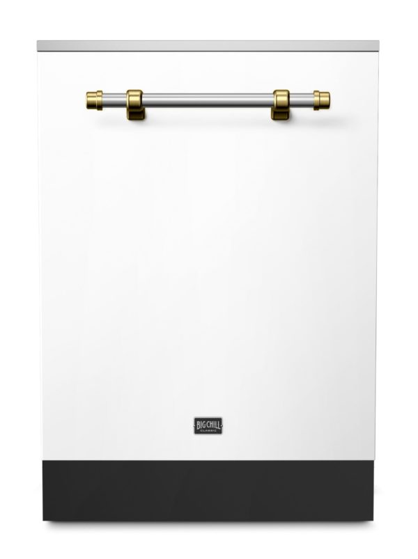 Big Chill Classic White Dishwasher With Brushed Brass