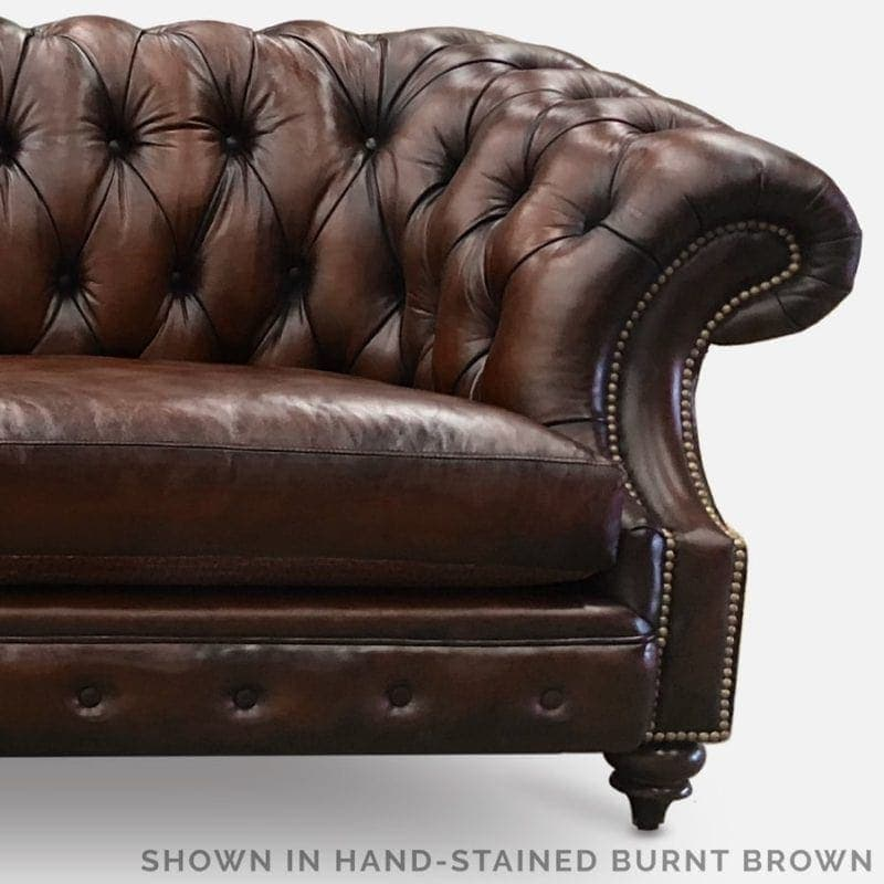 Burnt Brown Hand-Stained Leather Chesterfield