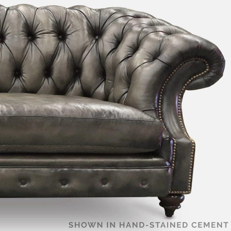 Cement Grey Hand-Stained Leather Chesterfield
