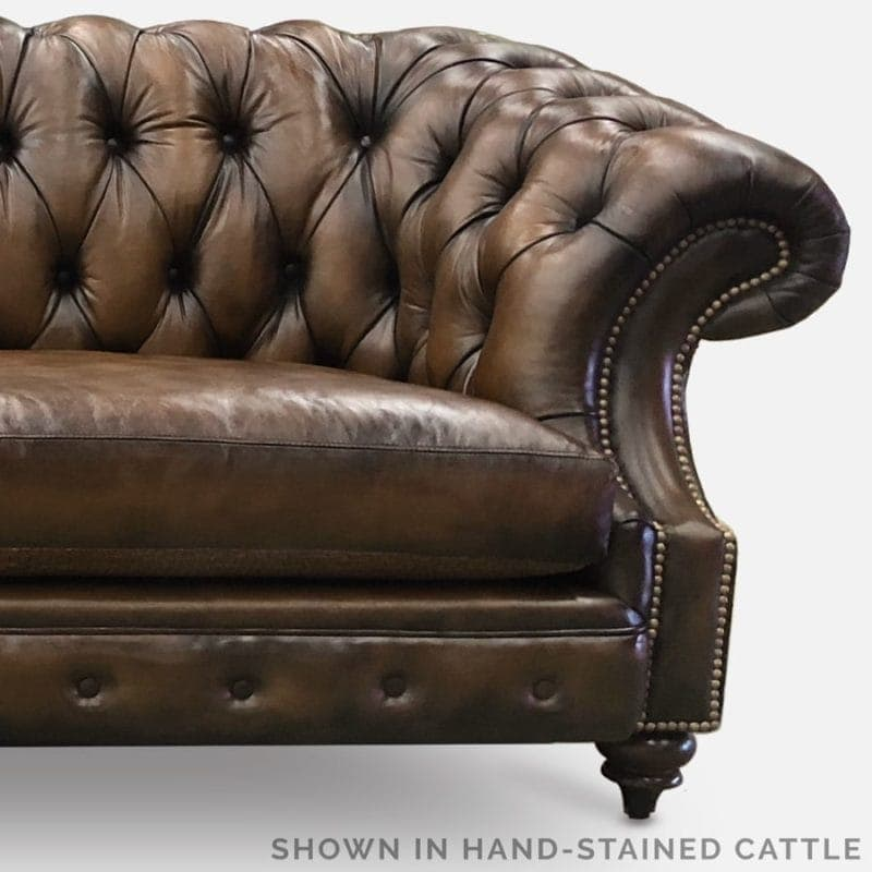 Cattle Brown Hand-Stained Leather Chesterfield