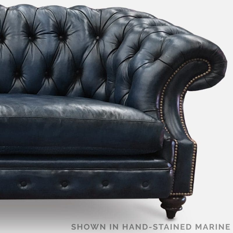 Marine Blue Hand-Stained Leather Chesterfield