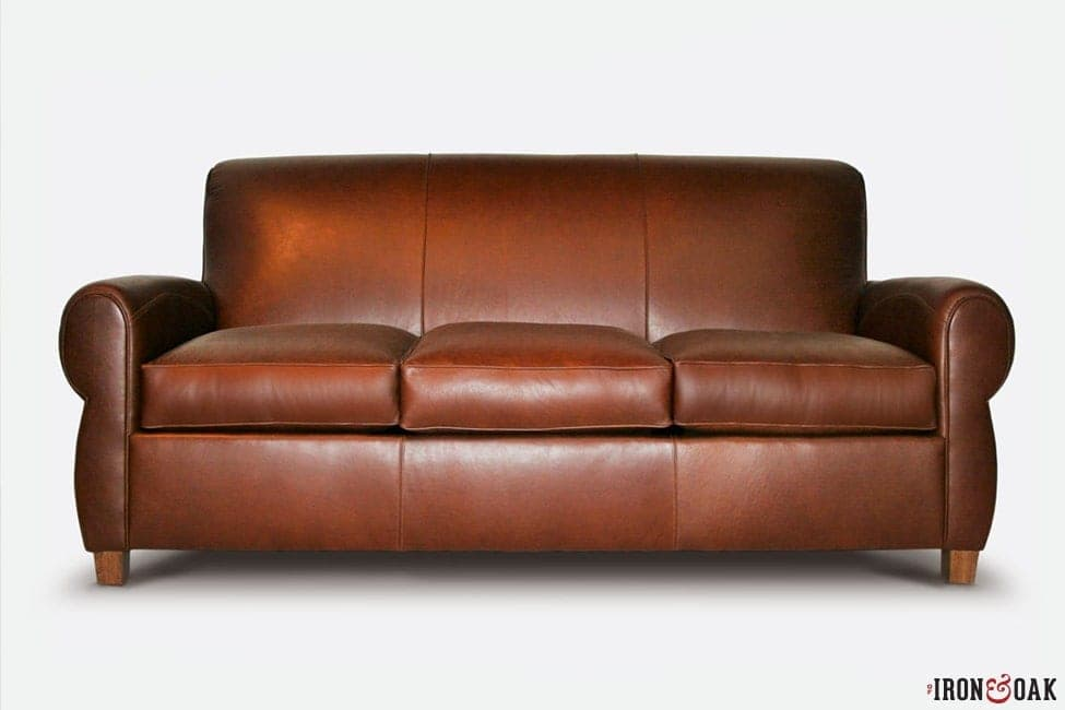 Brown Leather Armstrong Club Arm Sofa