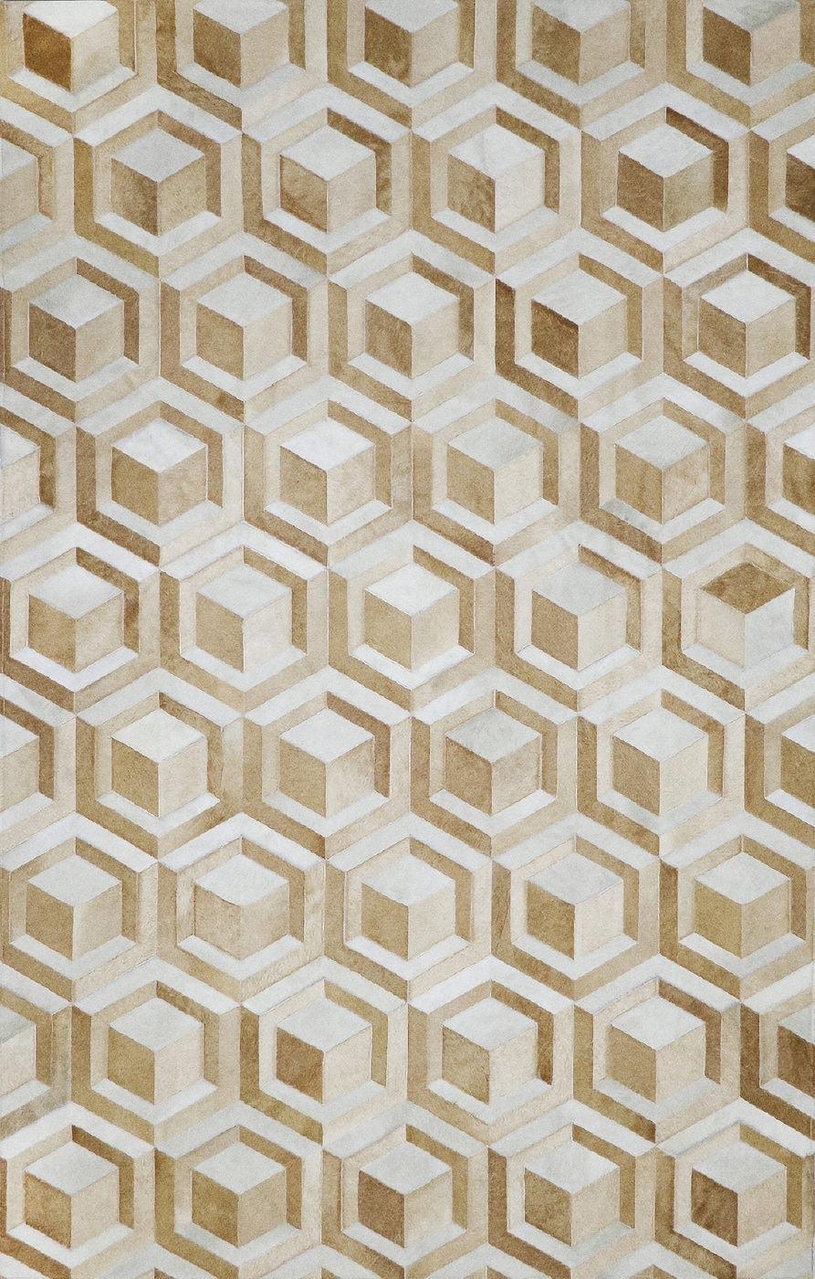 Hexagon Chai 4'x6' patchwork hair on hide rug