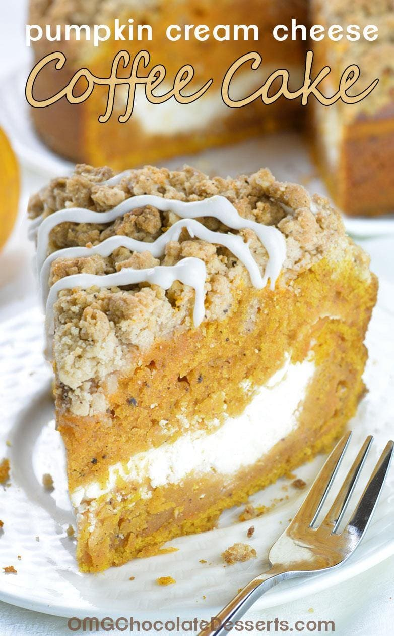 This is the fall recipe you've all been waiting for- Pumpkin Coffee Cake!!! A big slice of spiced pumpkin cake with cream cheese filling in the center and crunchy brown sugar-cinnamon crumbs on top.