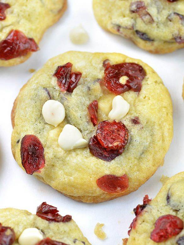 White Chocolate Cranberry Cookies on a baking sheet.