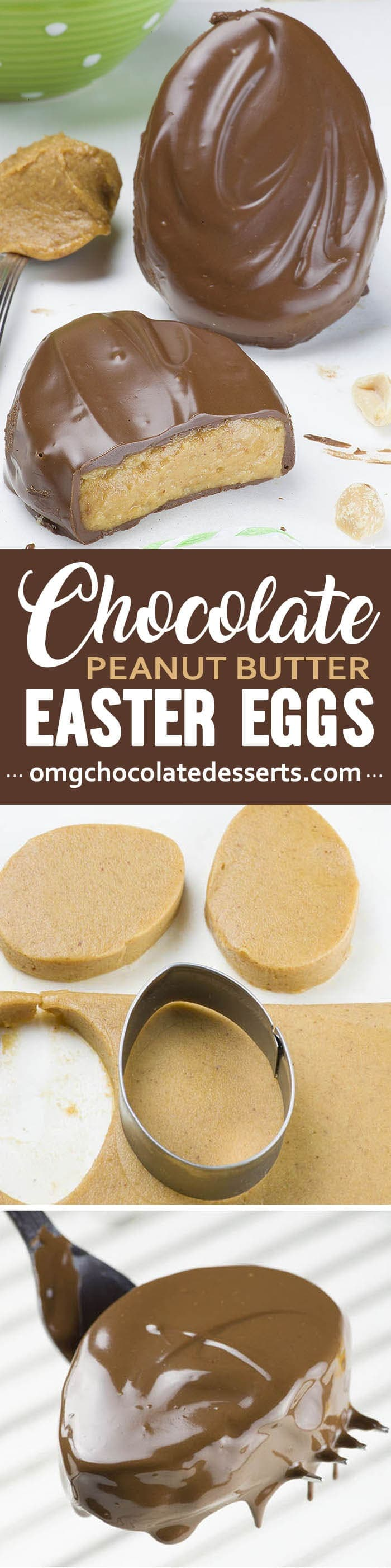 These Peanut Butter Eggs are a homemade copycat version of Reese's Peanut Butter Eggs, an Easter favorite. A smooth peanut butter filling covered in chocolate. Yummy !!!