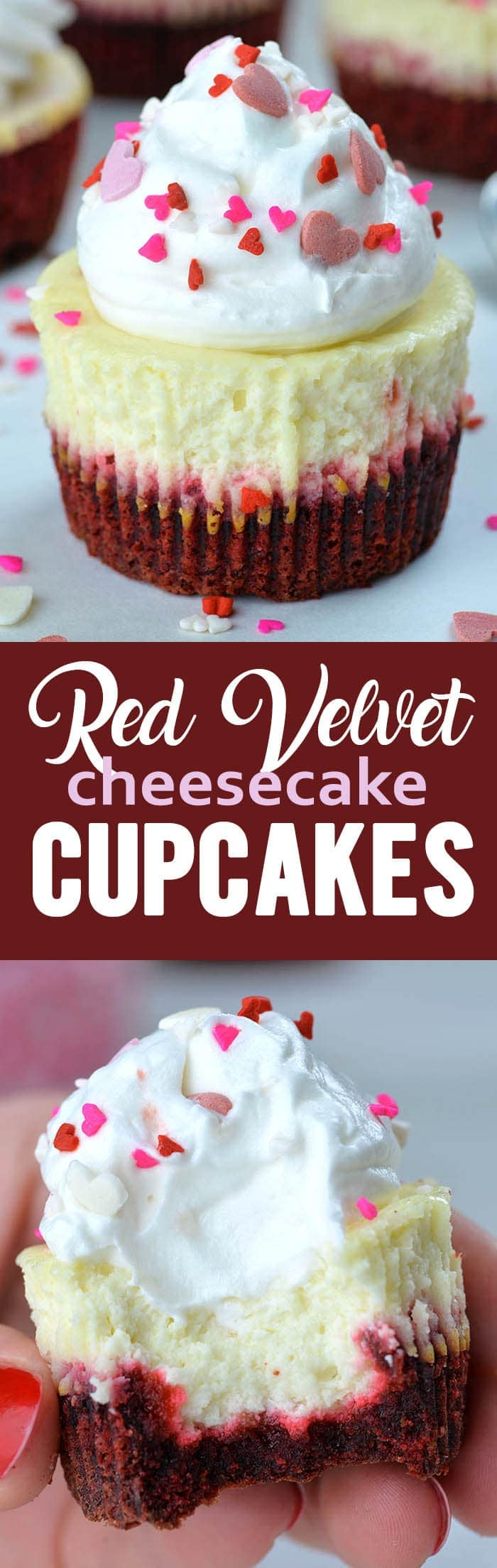 Red Velvet Cheesecake Cupcakes are perfect Valentine's Day treat - combo of smooth cheesecake on top of red velvet crust packed in individual portion.