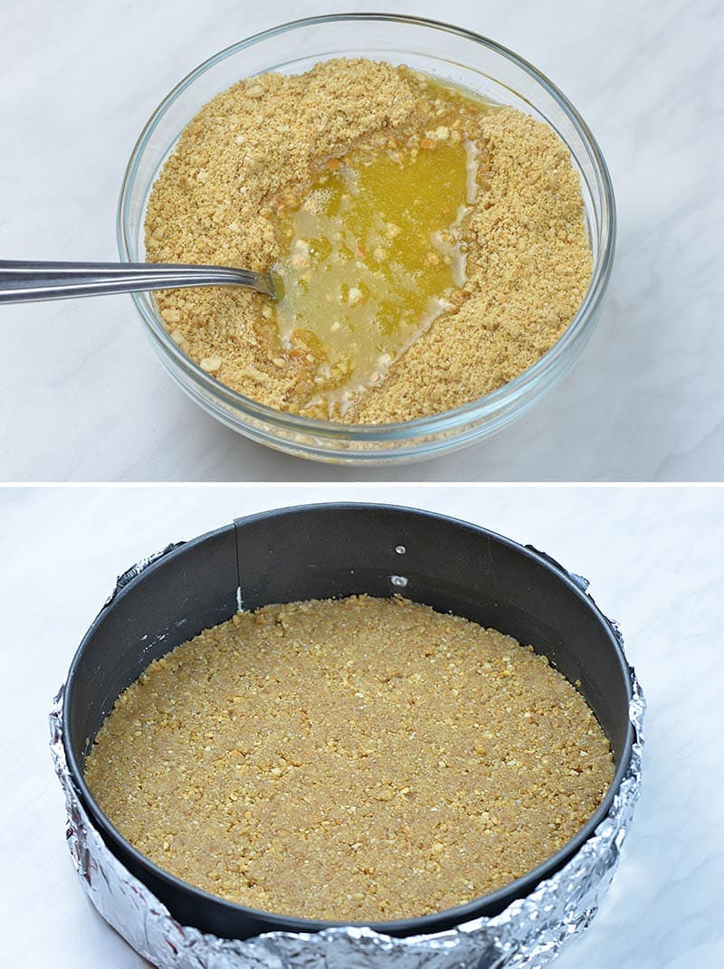 Graham cracker crumbs and melted butter in a bowl. Graham cracker crust for cheesecake in the pan.
