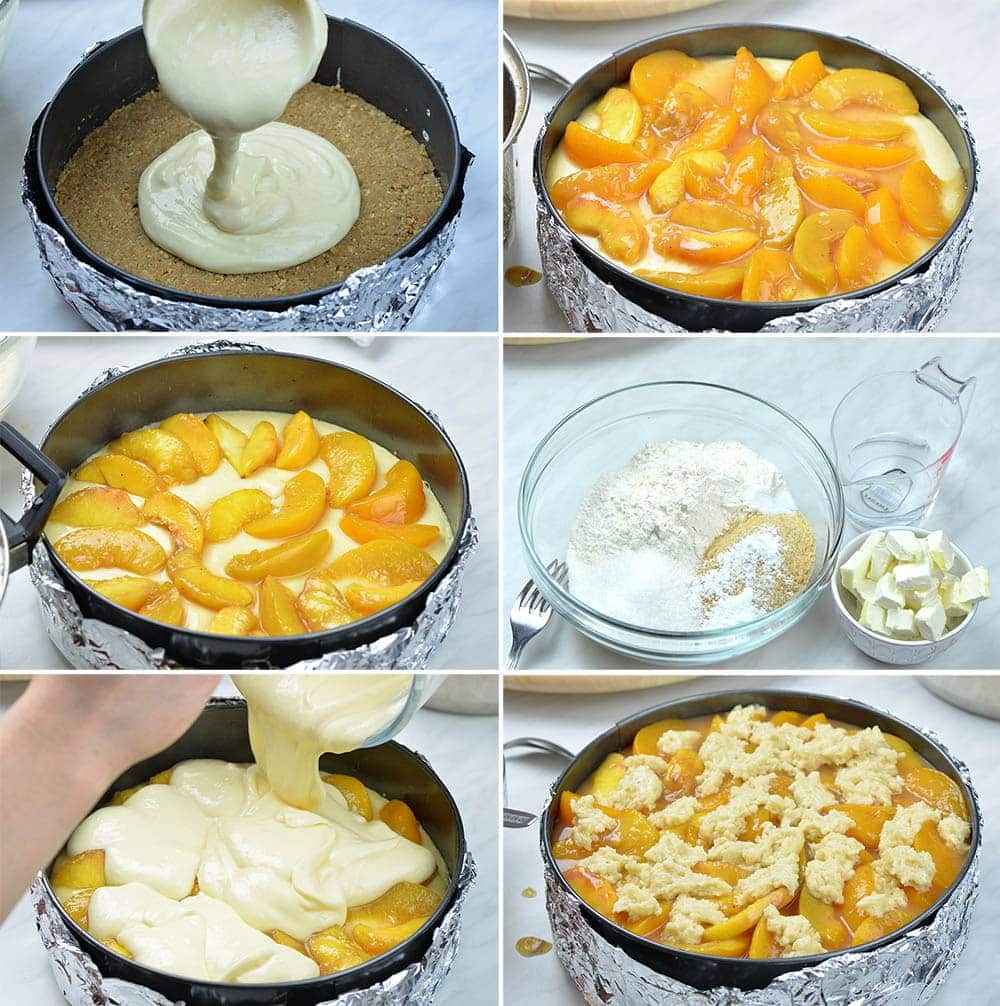 Steps for making peach cobbler cheesecake. Graham cracker crust, cream cheese filling, sliced peaches and cobbler mixture.