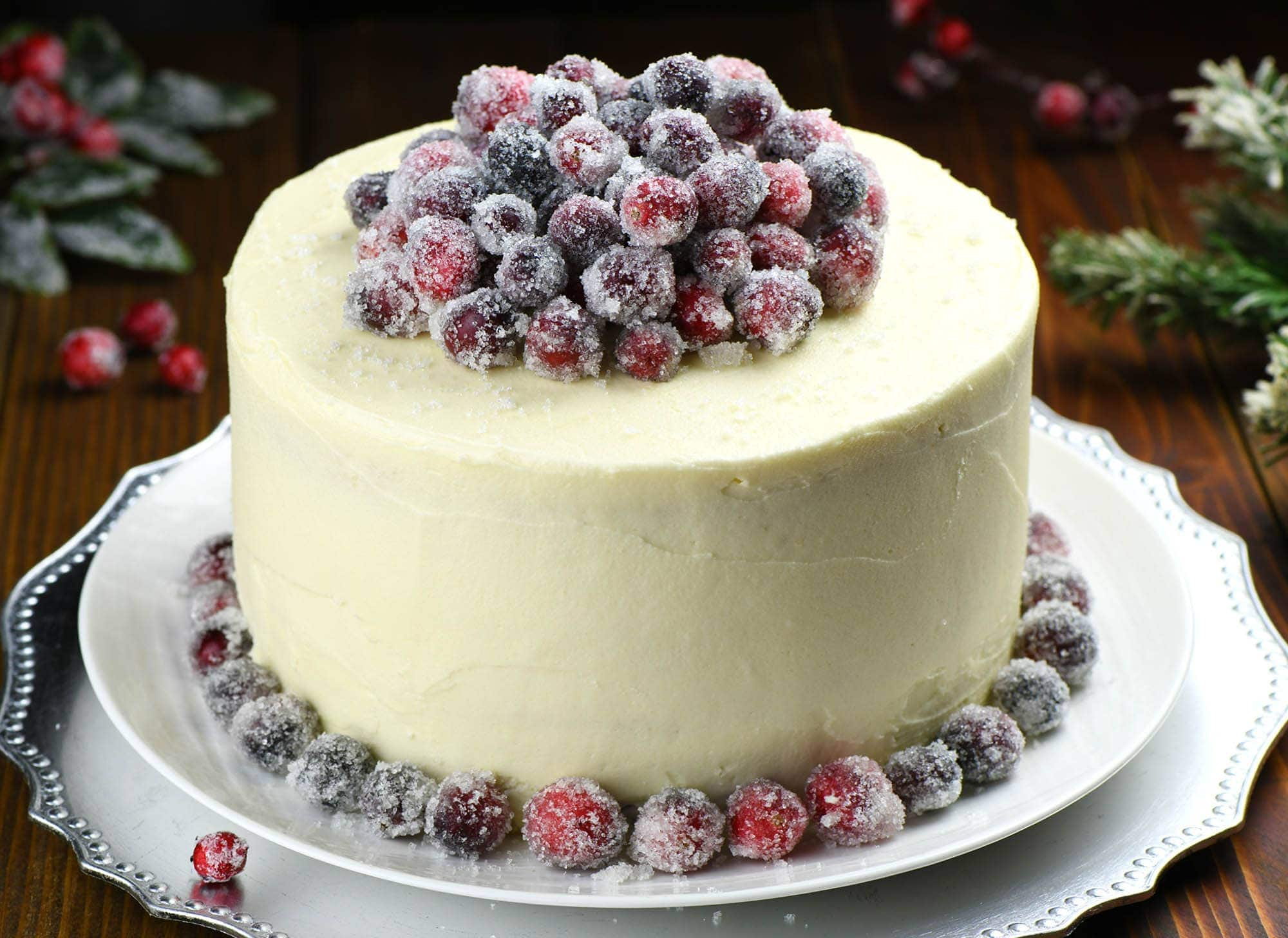 White Chocolate Cranberry Cheesecake Cake on a central place on your Thanksgiving or Christmas table!