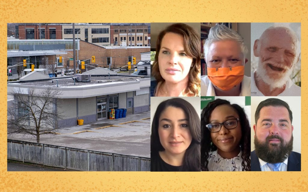 A composite image showing the approved safe consumption site and photos of the six candidates.