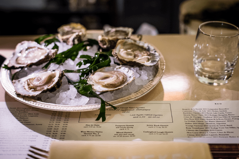 Oysters served at J. Sheekey Atlantic Bar & Terrace in Covent Garden