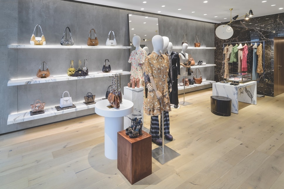 Handbags on display at the Michael Kors Collection boutique on Bond Street in London