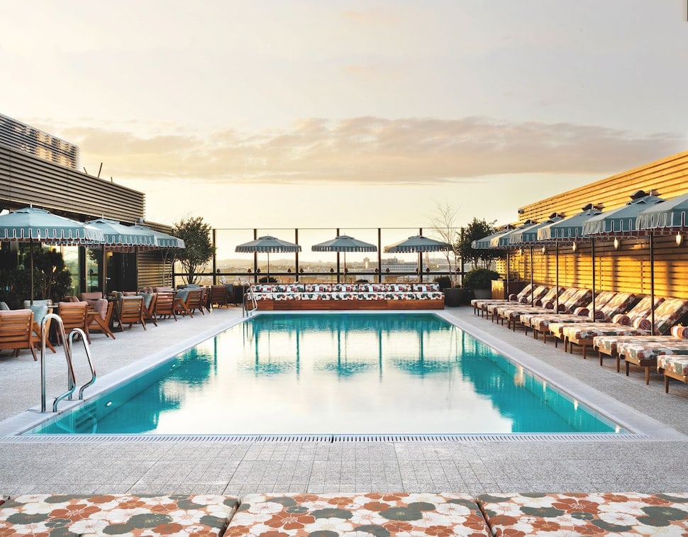 The rooftop pool at White City House in London