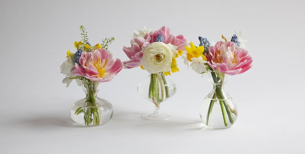 Spring flowers on an Easter table