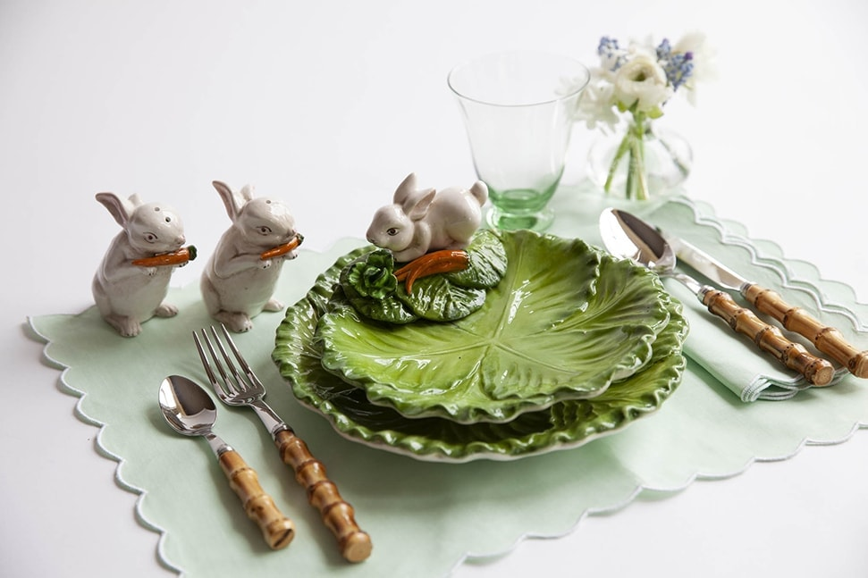 Alice Naylor-Leyland's Easter table setting with plates and cutlery