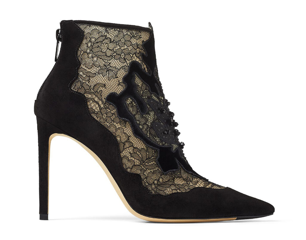 JIMMY CHOO LORRE 100 Black Suede and Lace Ankle Boots with Floral Embellishment 1095 JIMMY CHOO