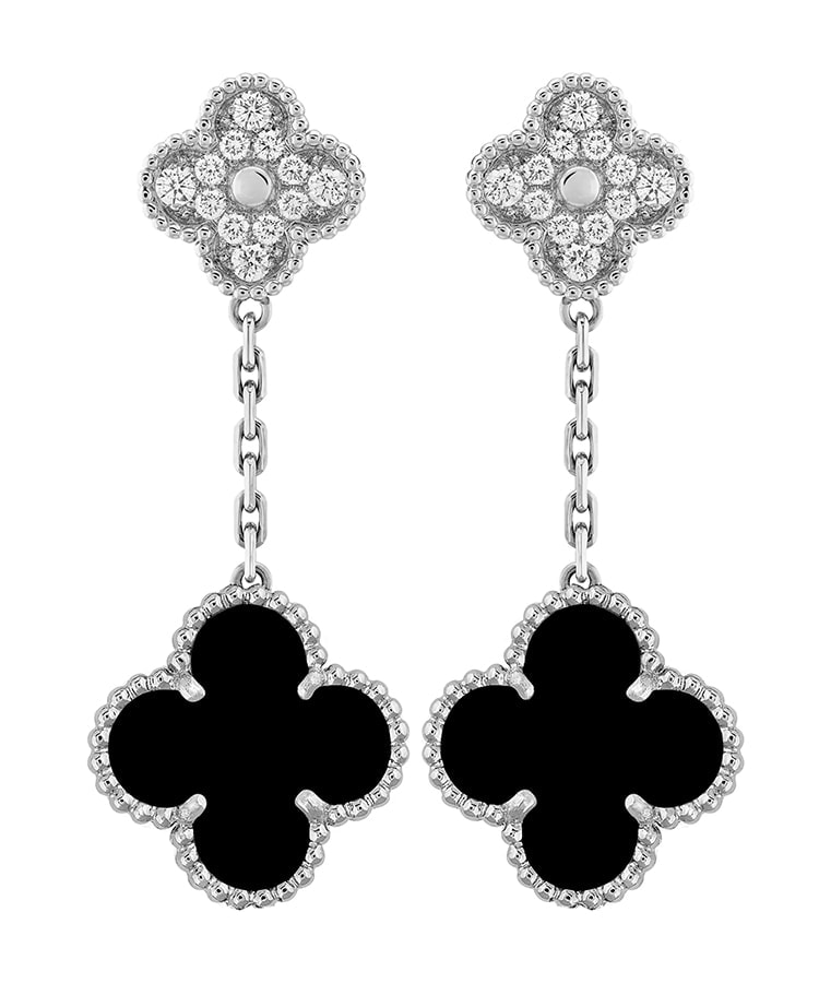 VAN CLEEF ARPELS Magic Alhambra 2 Motif Earrings – diamonds and onyx set in white gold Price 13300 Stockist Selfridges