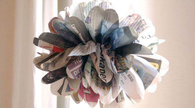 Pompones de papel periódico