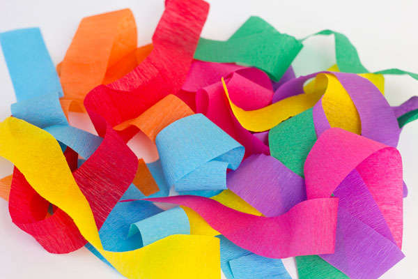 Tiras de papel crepe