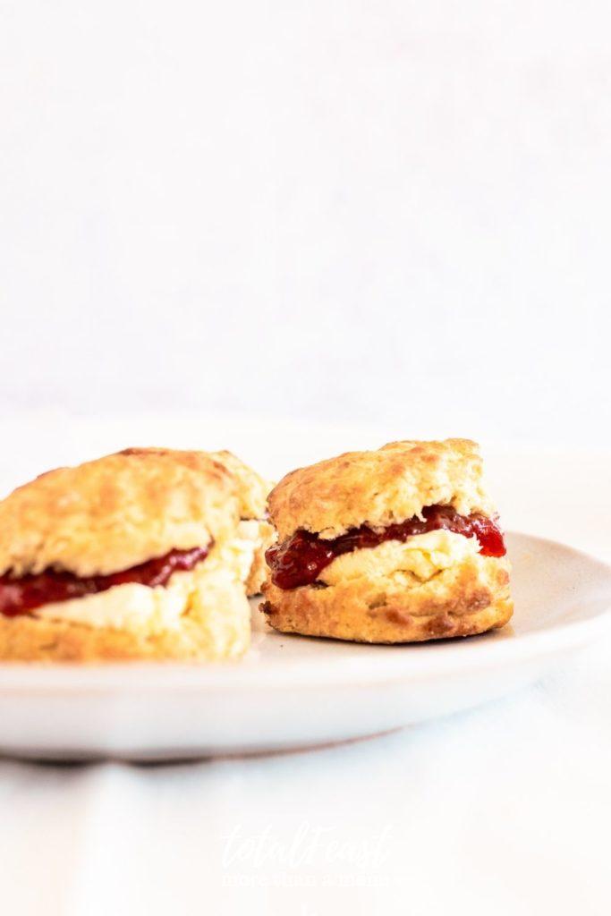 Devonshire Scones with clotted cream and jam