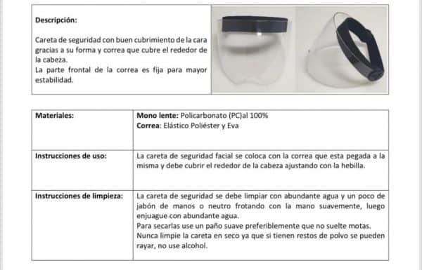 2x1 Caretas de Policarbonato Curva Interna Mentón | 15 cm
